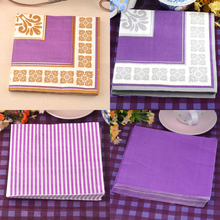 40pcs Purple Wedding Napkins Paper Wineglass Flower Tissue Party Favor Birthday Supplies Banquet Dinner Home Table Mat