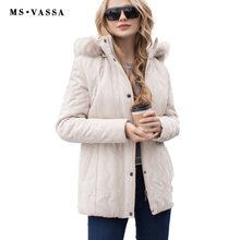 MS VASSA Ladies jacket Women micro moss quilted jacket Spring Winter turn-down collar detachable hood plus size S-7XL outerwear(China)