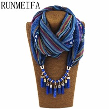 [RUNMEIFA] Spring Summer Style Warm Scarf Charm Shawl Water Drop Pendant Acrylic Necklace Wraps Jewelry 7 Colors Vintage(China)