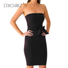 ERICHIKZ New Fashion Women Sexy Cocktail Bodycon Casual Club wear Cute Knee Length Party Dresses Strapless Green Dress Vestidos