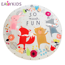 Kids Baby Play Mats Toys Storage Bag Round Carpet Rugs Large Canvas rawling Mat Carpet Portable Canvas kids Toys Sundries Pouch(China)