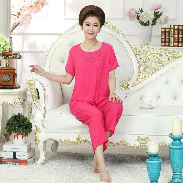 New Green Print Female Pajamas Set Sleepwear Chinese Women Cotton Linen  Pyjamas Suit Flower Nightwear M L XL XXL YZ089 - Fortuna Brands 1c103f17fc