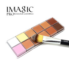 IMAGIC 12 Colors Beauty Contour Makeup Cometic Base Makeup Concealer Foundation Palette Powder  Brush