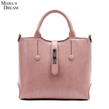 Mara's Dream Ladies Hand Bags Women PU Leather Pink Solid Color Metal Hasp Big Capacity New Vintage Messenger Bags Frauen Tasche