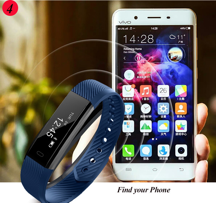 ID115 Smart Bracelet Fitness Tracker Step Counter Activity Monitor Band Alarm Clock Vibration Wristband for iphone Android phone 10