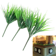 10Pcs/lot Brick Artificial Plants Green Grass Plastic Simulation Plants Home Store Decoration Flower 7 Fork Spring Grass(China)