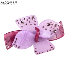 ZXDJHELF Grils Butterfly Hairclip Accessories Female Luxury Acrylic Crystals Bowknot Barrettes Ornament For Women F130