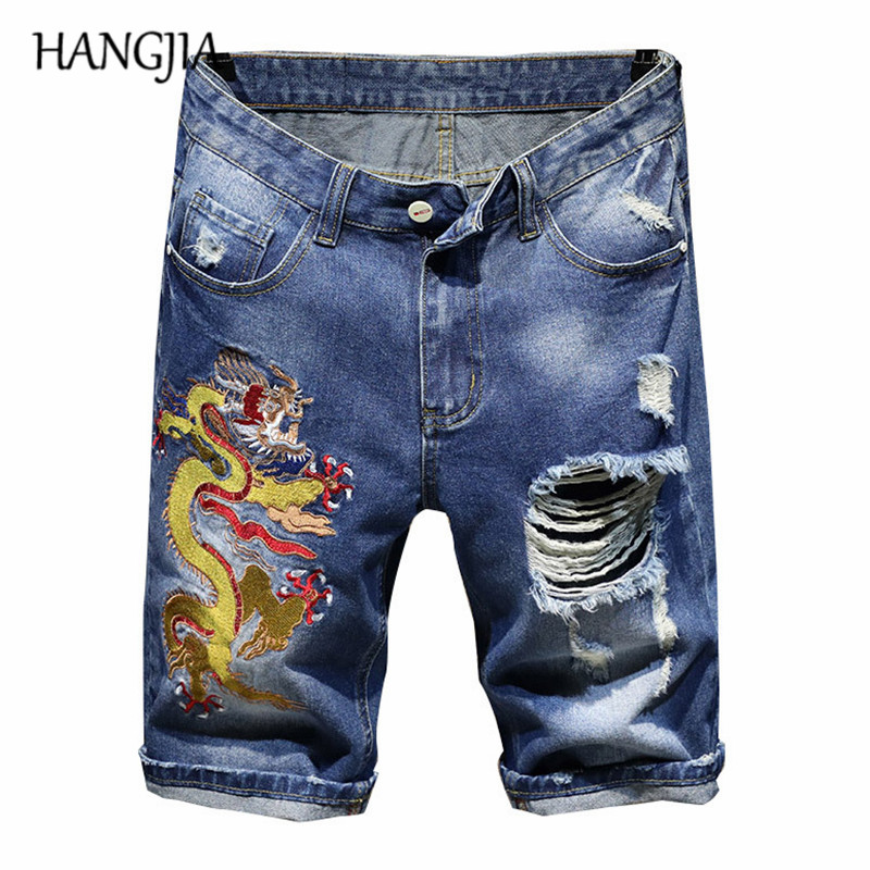 Blue Ripped Denim Shorts Men Fashionable Chinese Dragon Embroidery Plus Size Mens Slim Fit Distressed Denim Short Shorts