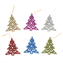 6pcs Kids DIY Plastic Christmas Tree Set with Ornaments Children Gift Xmas Decoration Toddler Door Wall Hanging Preschool Craft