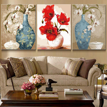3 Pcs/Set New Diy Painting by Numbers Digital Oil Paint Flowers Canvas Unique Gifts Picture Home Decor Wall Drawings Sets