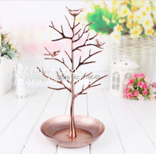Free shipping Retro Copper color Earring Ring Jewelry Tree Stand Display Organizer Holder Show Rack