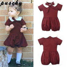 Puseky Toddler Kids Baby Girl Clothes Short Sleeves Romper Wine Red Retro Cotton Jumpsuit Peter Pan Collar Bow Romper One Piece(China)