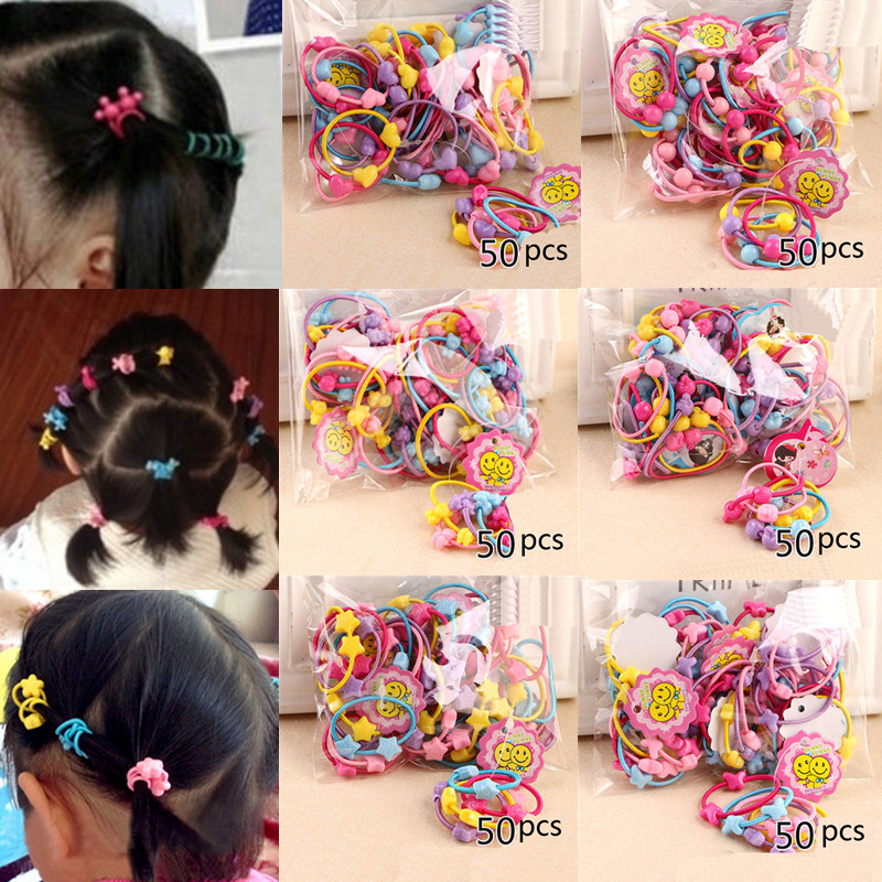 50pcs/Pack 2016 Cute Children Elastic Hair Bands Kids Hair Ties Baby Rubber Band Headdress Girls Hair Accessories<br><br>Aliexpress