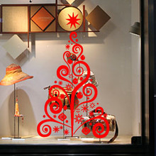 Creative Red Tree Christmas Tree Wall Sticker Removable Mural Glass Window Decor PVC Vinyl Art Home