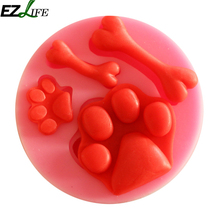 DIY pink Liquid Skull dog bone silicone cake mold Pudding Jelly Candy Ice Cookie Biscuit Mold Mould Pan Bakeware LQW1291(China)