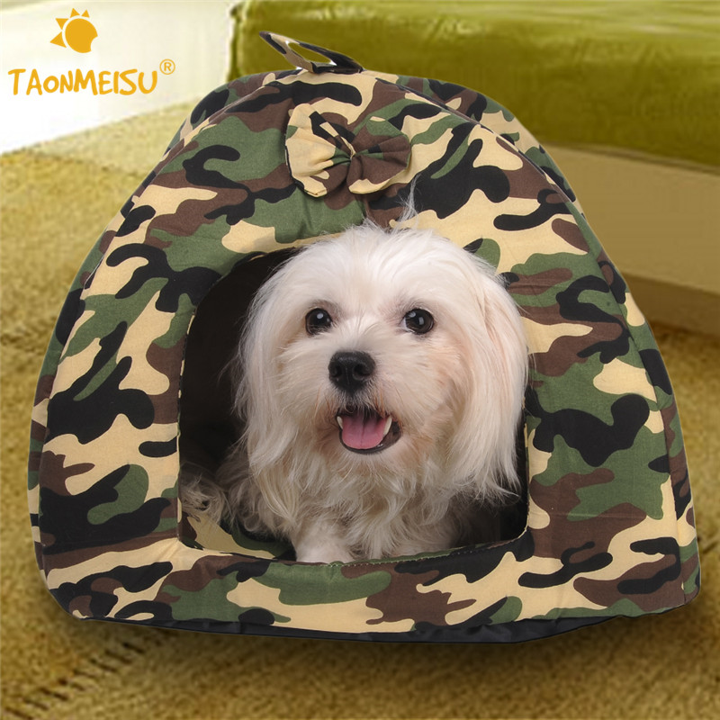 TAONMEISU Pet Dog Bed Warming Dog House Camouflage Warm Soft House Bed Puppy Kitten Nest Mat 3 Size 1pcs 2016(China (Mainland))