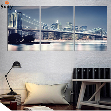 Fashion 3 Panels/Set Large HD City Night and Bridge Picture Canvas Print Painting Artwork Wall Decorative Oil painting No frame(China)