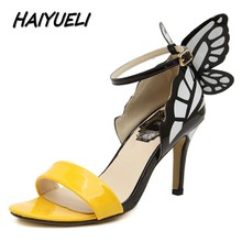 HAIYUELI new fashion Dream Butterfly women pumps sexy peep toe wedding party high heels sandals shoes women size 35-40