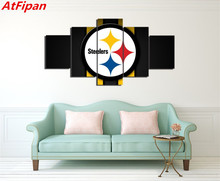AtFipan 5 Panels Pittsburgh Steelers Sports Team American Football Oil Painting On Canvas Liveing Room Deco Fans Posters Bedroom