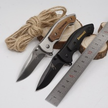 Pocket Folding Knife Browning Tactical Survival Combat Knives 440C Blade Steel+Wood Handle Outdoor EDC Multi Tool Hunting Knife(China)