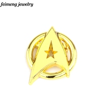 Golden Metal USS Enterprise Symbol Brooches Pins Star Trek Into Darkness Logo Movie Brooch Pins Jewelry For Mens Gifts