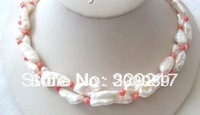 002768 wonderful double 20mm white natural freshwater pearls &pink coral necklace