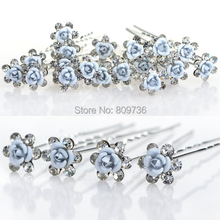 20pcs/lot Bridal Wedding Hair Pins Blue Rose Flower Crystal Hairpin Bridesmaid Women Hair Jewelry Party Cheap Gift hairpin(China)