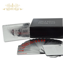 Promotional Gifts America 100 Dollar Bill Playing Cards Silver Plated Playing Card With Wooden Case For Wholesale(China)