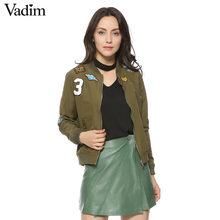Women bomber jacket badge patch design long sleeve flight jacket casual coats two pockets ladies punk outwear Hot Sale CT1209