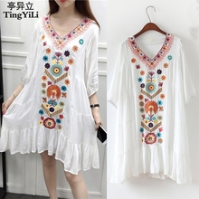 TingYiLi Embroidery Bohemian Beach Dress Vintage Floral Ethnic Women Dress Summer Black Red Beige Blue White Short Dress(China)
