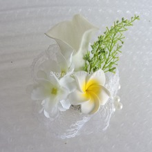 Handmade  Prom Crystal Bride Boutonniere Prom Corsage Artificial Calla Lily Wrist Flower Wedding Decor Yellow White F5032