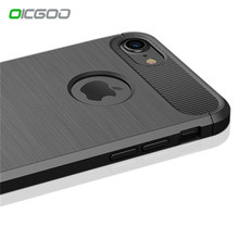 OICGOO Luxury Shockproof Carbon Fiber Case For iPhone X Cover 7 6 6s Plus Cases Soft 360 Full Cover For iphone 6 6s 7 plus Case(China)