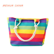 Canvas Beach bag ladies summer style for valentine shoulder with rainbow women handbag Casual Handbags Shoulder Tote Bag Bolsos(China)