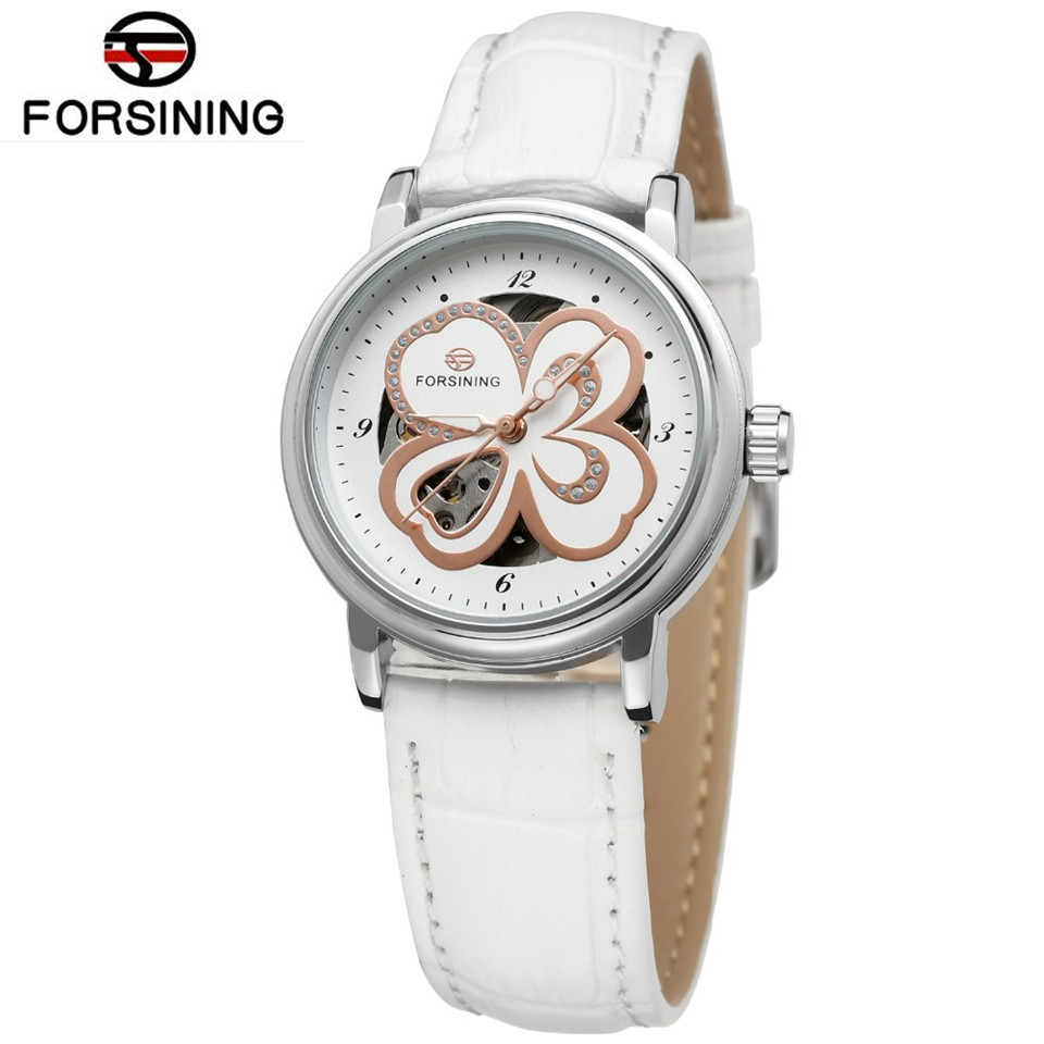 Forsining 2017 Casual Relogio Feminino Flowers Womens Girls Auto Mechanical Wrist Watch Best Gift Free Ship<br><br>Aliexpress