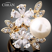 CHRAN Classic Gold Color Cubic Zirconia Women Wedding Rings Jewelry Wholesale Fashion Faux Pearl Flower Finger Rings