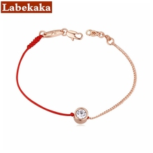 2017 jewelry thin red line rope with Real Rose Gold Color chain bracelet Genuine Czech crystal Mother's Day gift(China)