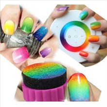 1 Set DIY Nail Art Design Stamping 1 Stamper + 4 Changeable Sponge Shade Transfer Makeup Beauty Tools