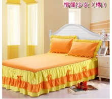 100% cotton big lace bedskirt type bed cover ORANGE Korea style bowknot zipper girl child adult 6pcs bedding set/TB1203ORANGE-6