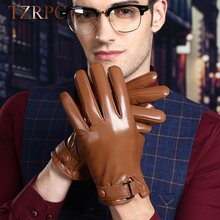 TZRPC*Mens Black Gloves Sheep Skin Men's Genuine Leather Gloves Windproof Cuff Male Leather Gloves Fashion Thick Warm Winter(China)