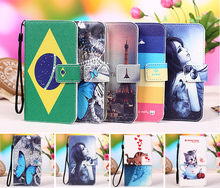 Micromax q334 case, Cartoon Painting Case PU Leather Flip cover Case For Micromax Canvas Spark 2 Q334, Lanyard Gift +Tracking