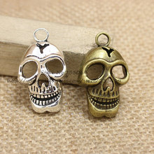 Buy PULCHRITUDE 12pcs/lot 36*22mm Skull Pendant Halloween Charms Antique Bronze Metal Alloy Trendy Pendant Fit Jewelry Making Charms for $4.73 in AliExpress store