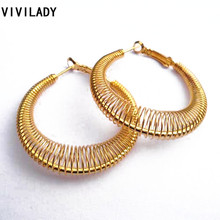 VIVILADY Fashion New Lead Nickel Free Women Gold Color Spring Hoop Earrings Trendy Jewelry Bijoux Accessory Birthday Party Gift(China)