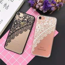 Luxury Brand Sexy Lace Mandala Flower Floral case For iphone 6 6s Plus 7 Plus 5s SE Cover Paisley Henna Case Rose Flower New