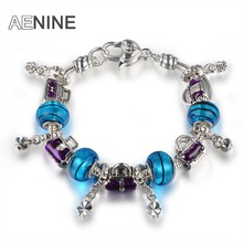 AENINE European Style Romantic Purple Bags Charm Murano Beads Bracelets For Women Fit Original Bracelets DIY Jewelry PABR033