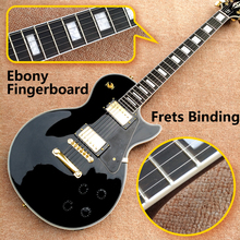 Best Price Top Quality LP Custom Shop Black Color Electric Guitar EBONY Fretboard Binding frets Golden Hardware Freeshipping(China)
