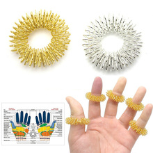 LNRRABC Finger Massage Ring Gold And Silver Finger Health Care Tool Small and Convenient Massager(China)