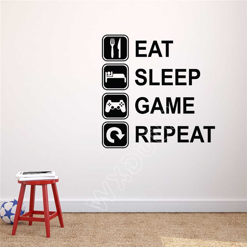 detail feedback questions about eat sleep game repeat wall decal
