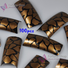 100PCS/Pack Beauty Nail Art Tips Black Gold Crackle Pre Design Nail Tips Fake Acrylic Nails Tip False French Nail Tips NEW F011