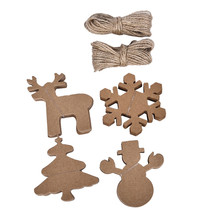 100pcs LotDIY Kraft Paper Tags Christmas Tree Elk Snowman Shape Hang Tag for Christmas/Wedding Party Favors Blank Hang Tag Gift(China)