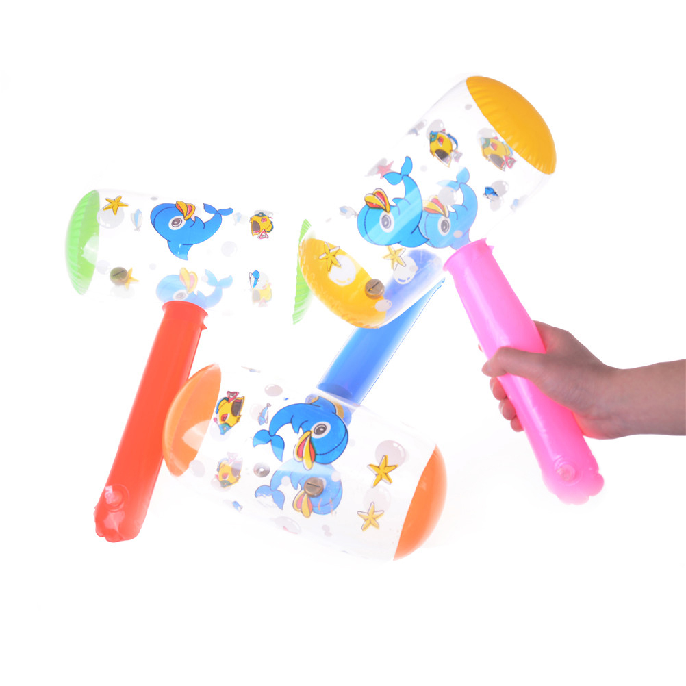 1pc Cartoon Inflatable Hammer Toy Funny Kid Air Hammer With Bell Children Blow Up Toys Suit For 2-8 Years Old Babies